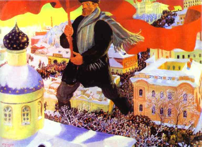 Painting symbolizing the october revolution of the bolsheviks